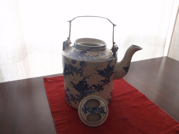 Chinese Blue and White Traditional Teapot with Brass Handle. $195.00, via Etsy.