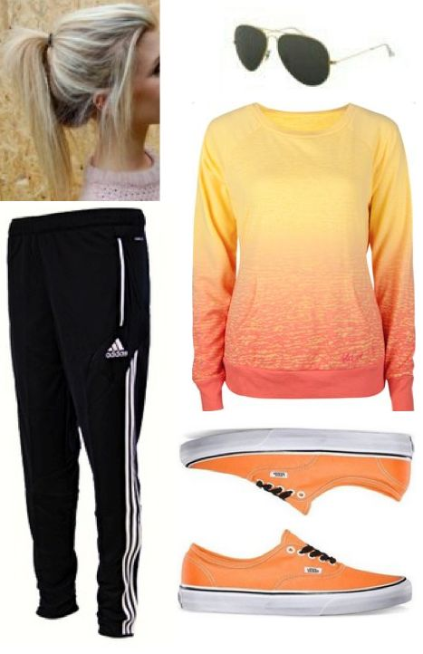 Cute teen outfit. Love everything about it! Orange vans. Volcom sweatshirt. Adidas pants. #teen ...
