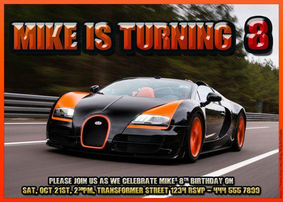 Bugatti Veyron Printable Birthday Invitation By