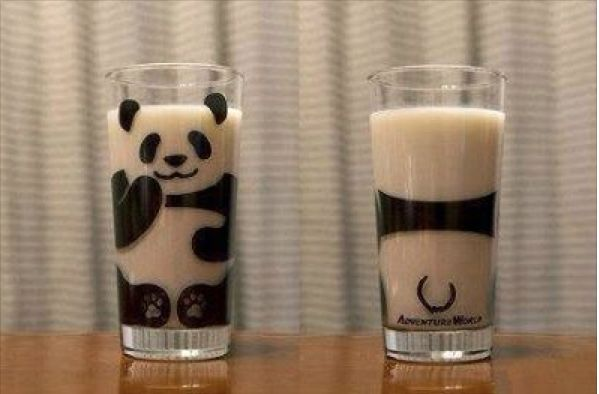 Panda milk glass