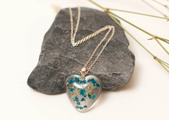 Blue Babies Breath Flowers Encapsulated in a by LomharaJewellery
