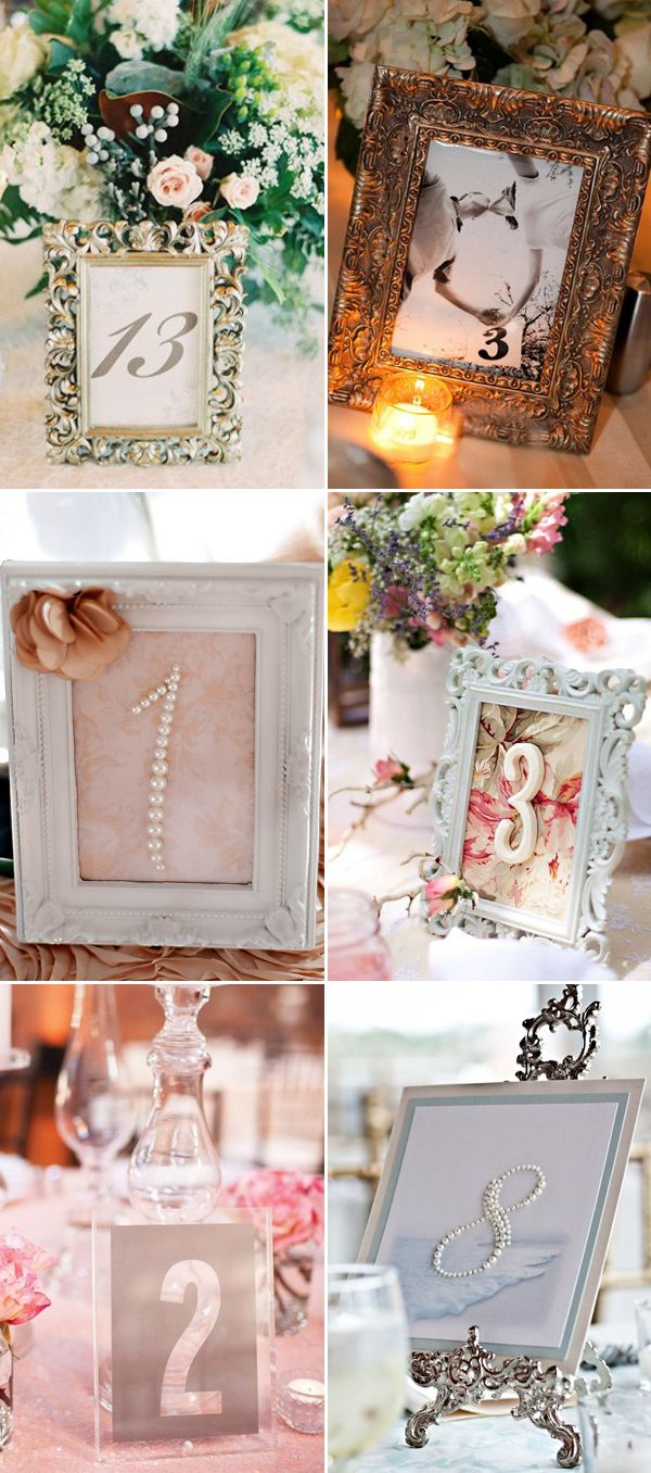 Framed Numbers DIY Table Numbers Ideas for Wedding / http://www.deerpearlflowers.com/51-creative-diy-wedding-table-number-ideas/