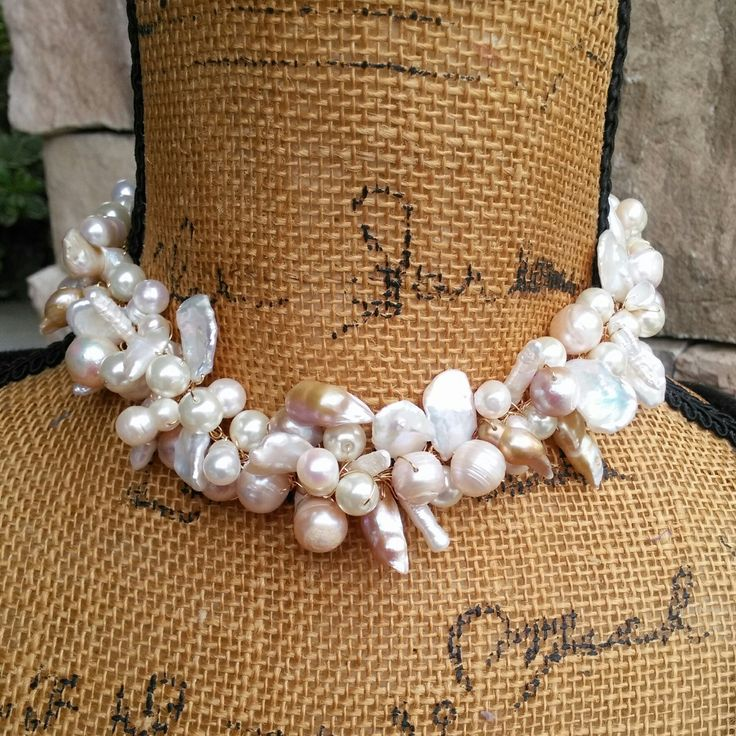 It's NEVER too early to start shopping for Christmas!  Check out my 20% OFF Sale!!!! Use Code: XMAS20  Freshwater Pearl Choker, Statement Choker, Chunky Statement Choker, Bridal Choker