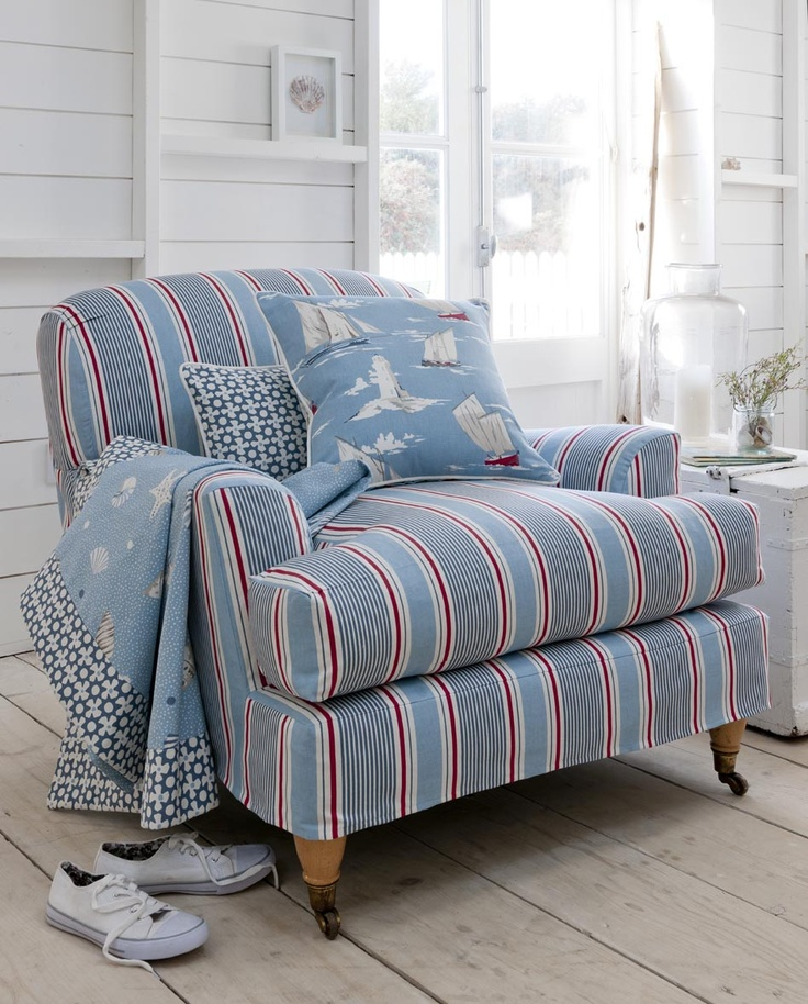 Chair upholstered in Sail Stripe: Marine