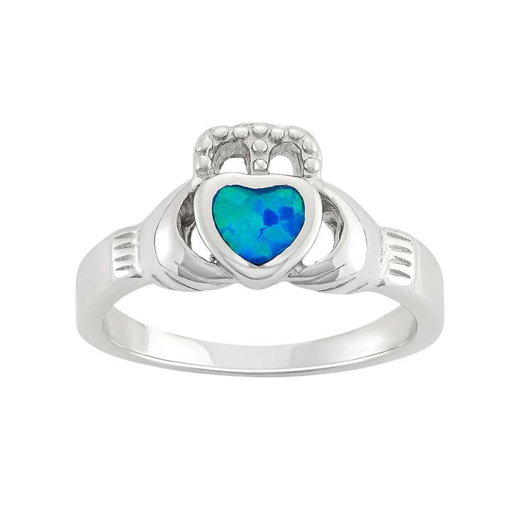 Lab-Created Blue Opal Sterling Silver Claddagh Ring, Women's, Size: 8