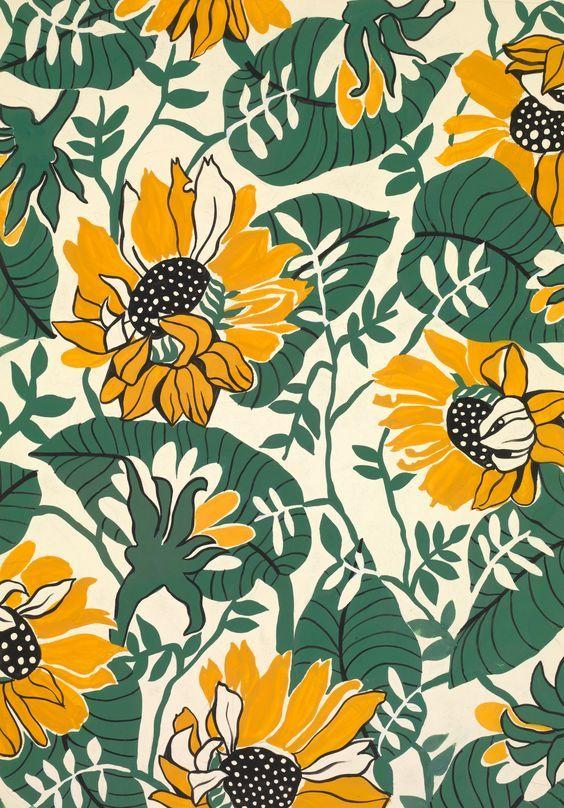 SUNFLOWERS An exclusive reproduction of a Parisian textile design from Atelier Zina de Plagny, 1940s-1950s.: