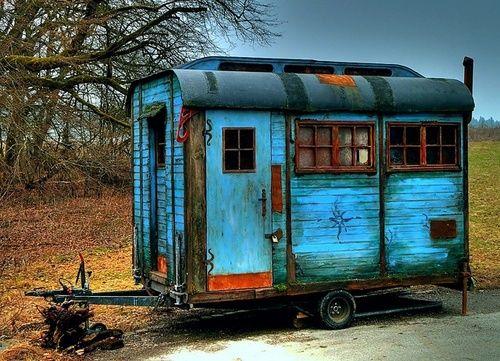 Vintage Blue caravan