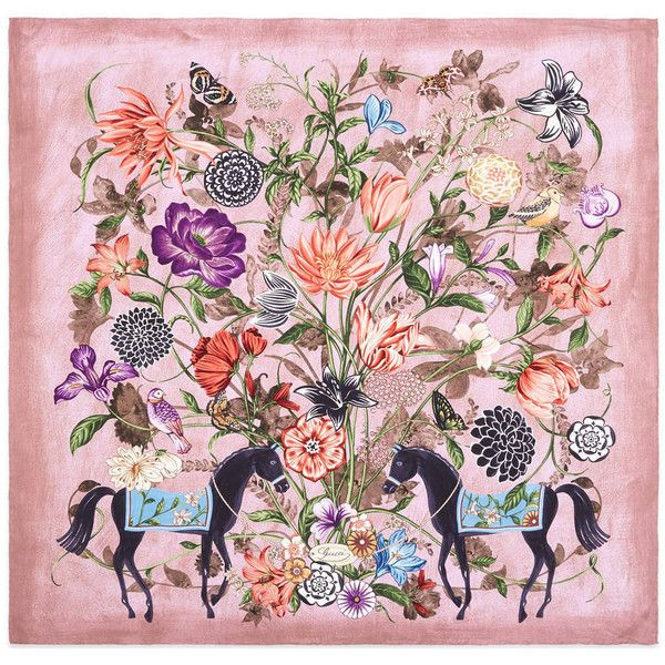 Gucci Silk Twill Garden Print Scarf (571 925 LBP) ❤ liked on Polyvore featuring accessories, scarves, silks & scarves, women, gucci scarves, gucci, gucci shawl, floral scarves and floral print scarves