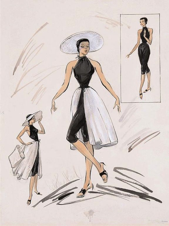 """Costumes by Edith Head from """"To Catch a Thief,"""" 1955."""