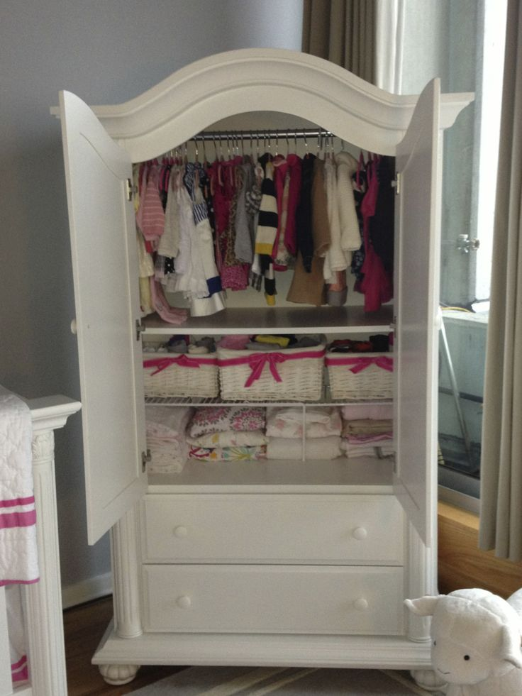 No closet in the nursery so this baby cache armoire holds for Armoire tv