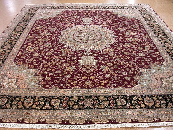 13 X 15 Persian TABRIZ Style Hand Knotted WOOL SILK Red Black New Oriental  Rug In