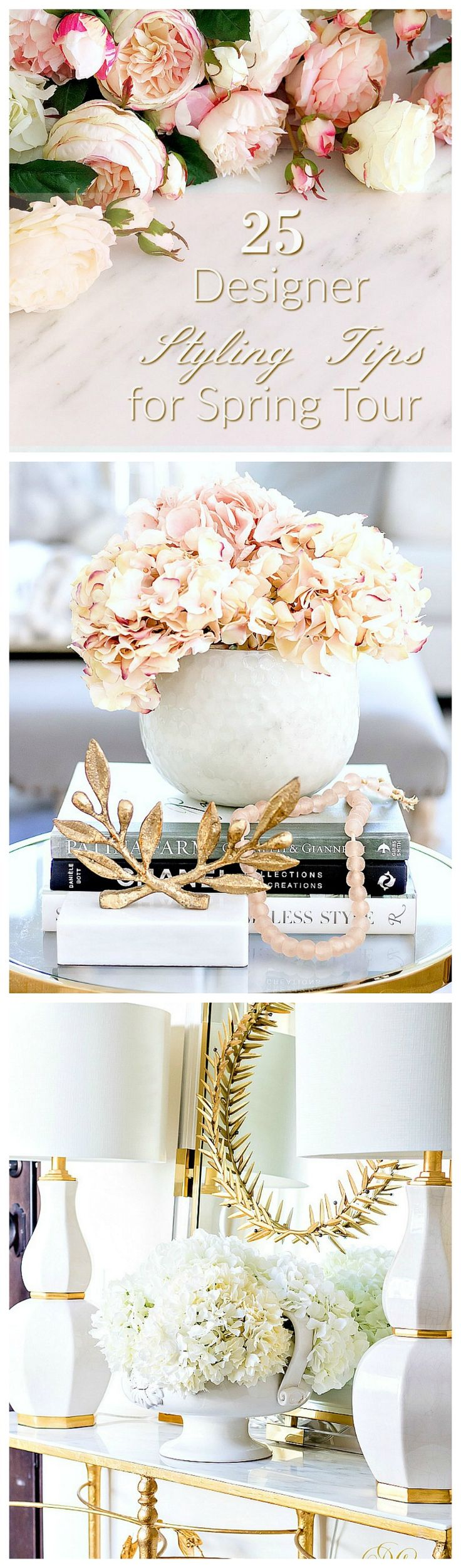 25 Designer Styling Tips for Spring - Decorating with Flowers - where to find good faux florals - how to style flowers -vases