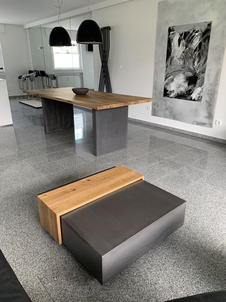 Dining Table Coffee Table Combination In Wood Concrete My