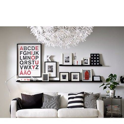 """1 Long + 2 Short IKEA Ribba Ledge Picture Photo Display Shelf Variety Black--large wall in dining room"" I like the solid black, big and small striped pillows"