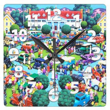 Title : Americana, 1022, In Town, Classic Car Show Fabric Square Wall Clock  Description : FOLK ART, is indicative to indigenous cultures, peasants or other laboring tradespeople. Folk art is usually very decorative. Folk Art reflects traditional art forms of diverse community groups, ethnic, tribal, religious, occupational, geographical, age or gender based who identify with SOCIETY at large.  Product Description : check out our sire for full description
