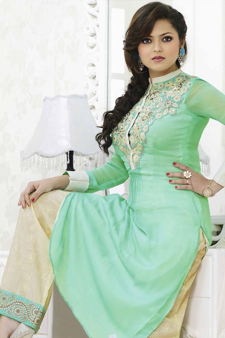 Designer salwar kameez mesmeric peach color net designer suit - Teal Color Drashti Dhami Style Anarkali Salwar Kameez Online From Easysarees Salwar Kameez Onlinedesigner