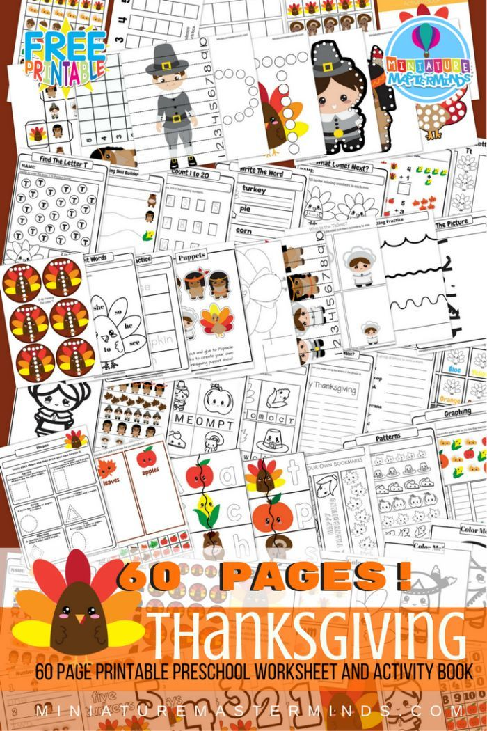 Share this: Printable 60 Page Preschool and Kindergarten Thanksgiving Worksheet and Activity Book 60 pages of Preschool and Kindergarten worksheets and activities Free! I have been pretty excited about this book. I think it is possibly the best one we have put out to date! It isn't quite the largest in size but pretty close. There …