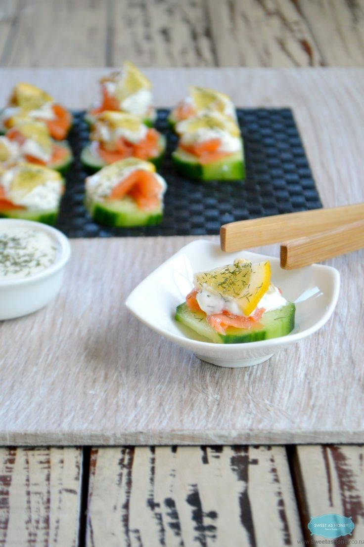 Smoked Salmon and Cucumber Appetizers with paprika dill yoghurt sauce and warm toasted walnuts