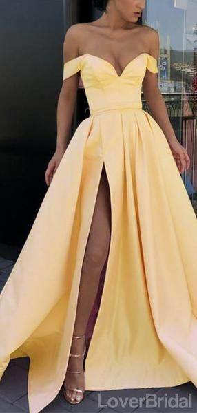 Great Off Shoulder Yellow Side Slit Cheap Yellow Long Evening Prom Dresses, Party Prom…