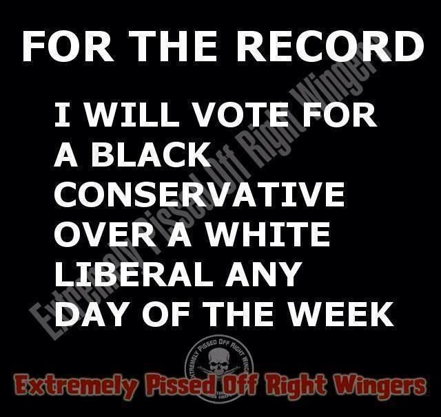 Yes, I will!  There are several great black conservatives in politics today that would get my vote.