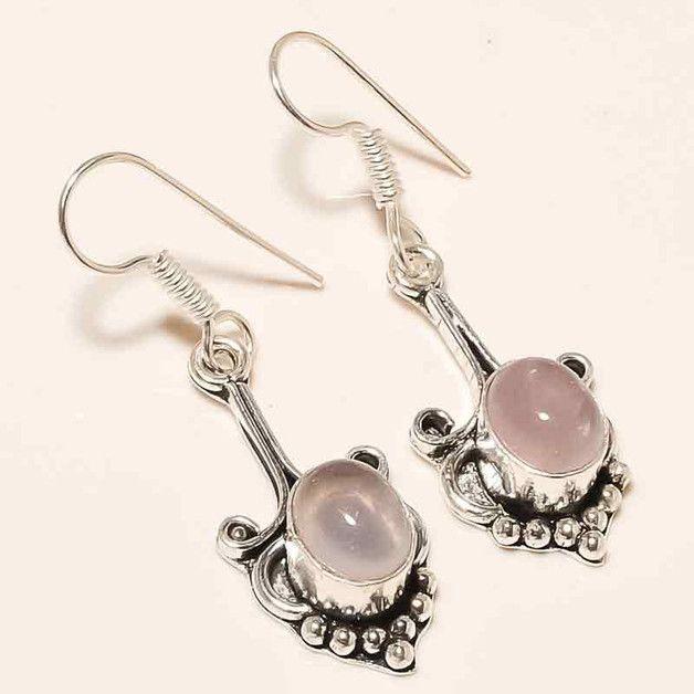 """Rosenquarz Ohrring, Quarz-Silber-Ohrring  Produktbeschreibung  Schöner """"Rose Quartz Ring"""" mit Liebe gemacht unter Verwendung von 100% reines Silber und Rosenquarz Edelsteine. Die perfekte zu..."""