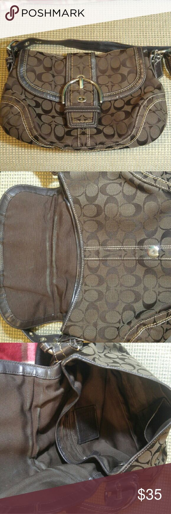 Coach Hobo Purse! Normal wear, (see pictures) a beautiful bag that has a lot of use left! Brown/dark brown colors! Aprox. Dementions: 15x7x3 Coach Bags Hobos