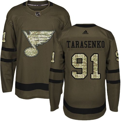 Adidas St. Louis Blues #91 Youth Vladimir Tarasenko Authentic Green Salute to Service NHL Jersey