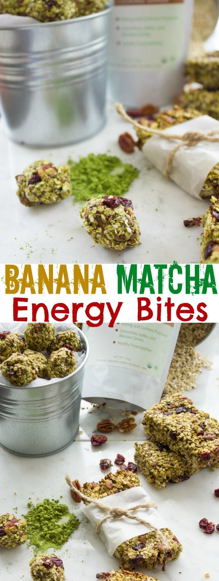 Banana Matcha Energy Bites. These are the BEST homemade protein and anti-oxidant packed energy bites ever--which you can make into energy bars or energy balls. No sugar added, perfectly vegan and gluten free. A favorite snack everyone will LOVE! www.twopurplefigs...