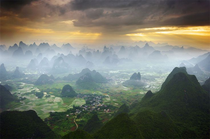 flying by hot air balloon over yangshuo, china by karl willson