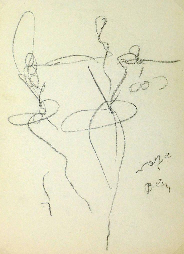 Jean Toth Vintage French faszén - Abstract balett-táncosok , 1950 körül -