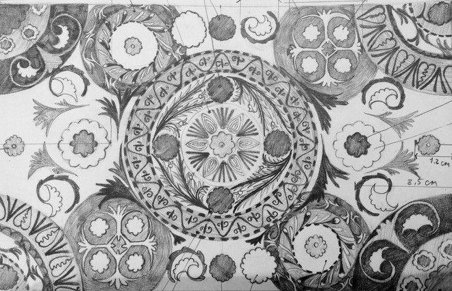 Эскиз орнамента к декорациям балета Алем