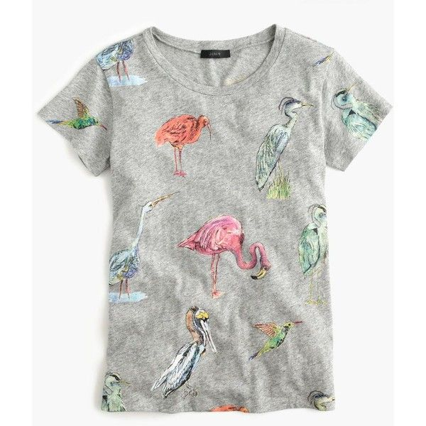 J.Crew Bird Life Art T-Shirt (£40) ❤ liked on Polyvore featuring tops, t-shirts, j crew tops, cotton t shirts, slim t shirts, slimming tops and slim fit t shirts