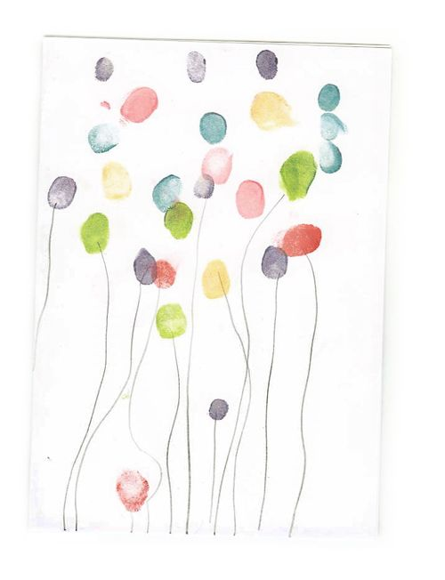 Fingerprint balloons -- fun kids art idea for birthday party invitations or group birthday art activity!