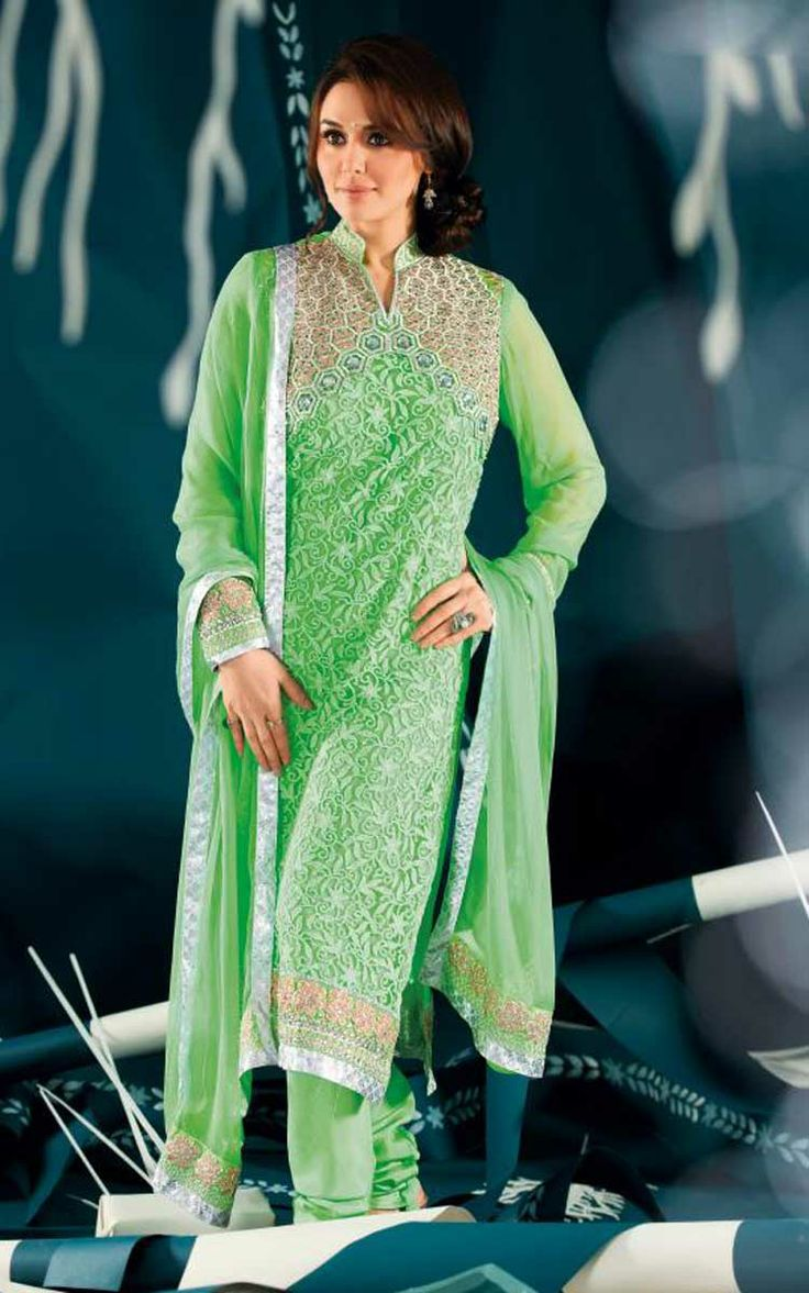 GREEN GEORGETTE EMBROIDERED SALWAR KAMEEZ - ZIN 9004