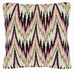 Briganta olive, pink, maroon, and white tent-stitch pillow using a bargello pattern