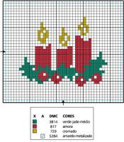 noël - christmas - bougie - point de croix - cross stitch - Blog : http://broderiemimie44.canalblog.com/