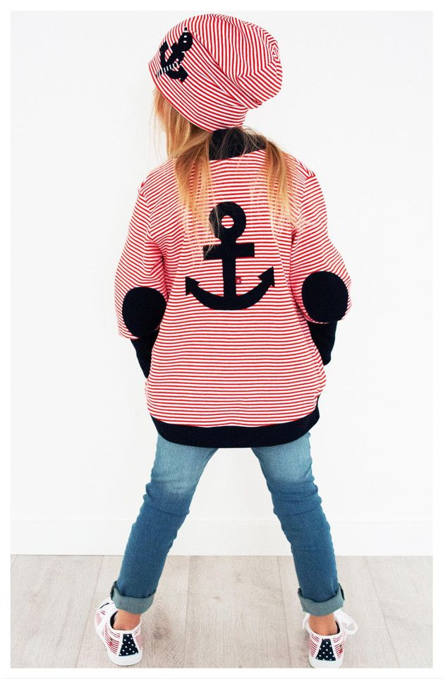 Pullover & Sweatshirts für Kinder: maritime Jerseyjacke mit Anker Motiv / children's sweater with anchor print, red and white striped sweatshirt made by dragonfly Designs via DaWanda.com