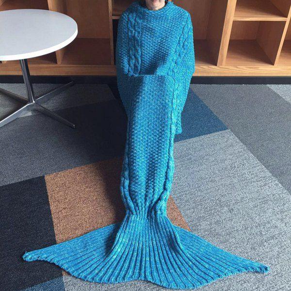 Warmth Blue Crochet Knitting Mermaid Tail Design Blanket, BLUE in Blankets & Throws | DressLily.com