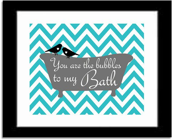 Bathroom Art Print, You are the Bubbles to My Bath Quote, Chevron or Damask Pattern, Modern Bathroom Decor, Birds on Etsy, $10.00