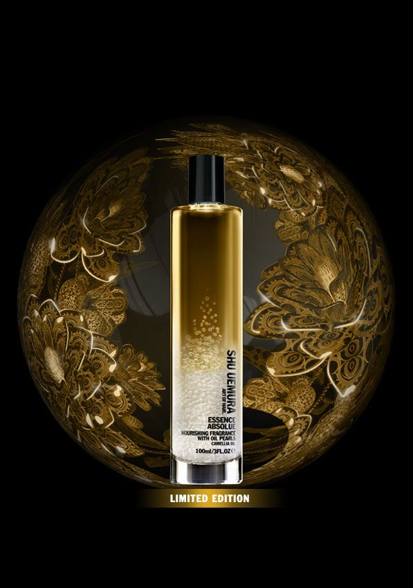 Essence Absolue Nourishing Fragrance, by Shu Uemura, is in infused with unique oil pearls. With the delicacy of a flower, this light and floral hair mist enhances a hairstyle with a sensual lingering scent, softness and intense radiance.