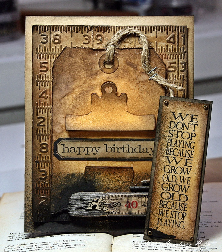 Anne Kristine: Happy Birthday card -tim holtz mini clipboard die http://sizzixukblog.blogspot.no/2013/03/happy-birthday-card.html