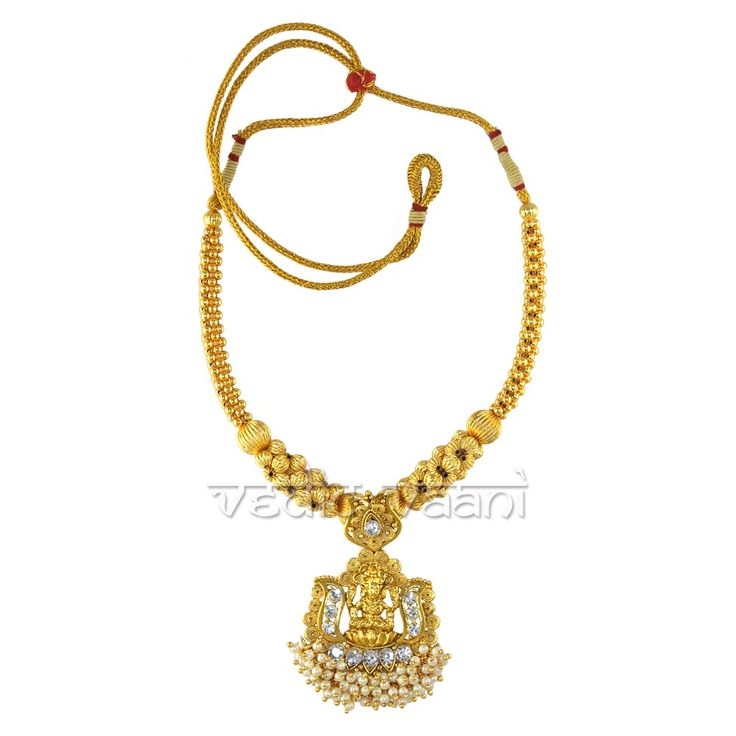 Shop Lakshmi Devi Kanthi Necklace online from VedicVaani from India to across worldwide at fair rates. A traditional looked special Maha Lakshmi Devi Kanthi Necklace for Goddess Mahalaxmi, it comes with an adjustable dori and made metal with gold polished on it, along with artificial beads and Goddess Lakshmi pendant.