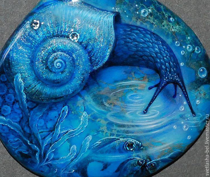 Купить Стихии... Улитки..) - лаковая миниатюра, кулон, живопись маслом, живопись на камне