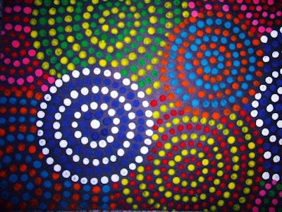 Q-tip art - with a focus on pattern, contrasting colour and breaking the edges of the paper.                                                                                                                                                                                 More