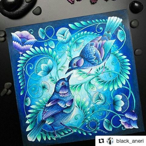 """Perfection! #Repost @black_aneri (@get_repost) ・・・ Today is the official release of """"Beautiful Birds and Treetop Treasures"""" by @milliemarotta and can't wait to get my hands on it! I enjoyed colouring this sample page very much and I know the book is going to be a beauty. I have a red version too and if you wish, you can check it on @batsfordbooks  #milliemarotta #beautifulbirdsandtreetoptreasures #batsfordbooks Mixed media: #kohinoorhardtmuth #stabilo #coloringbooks…"""