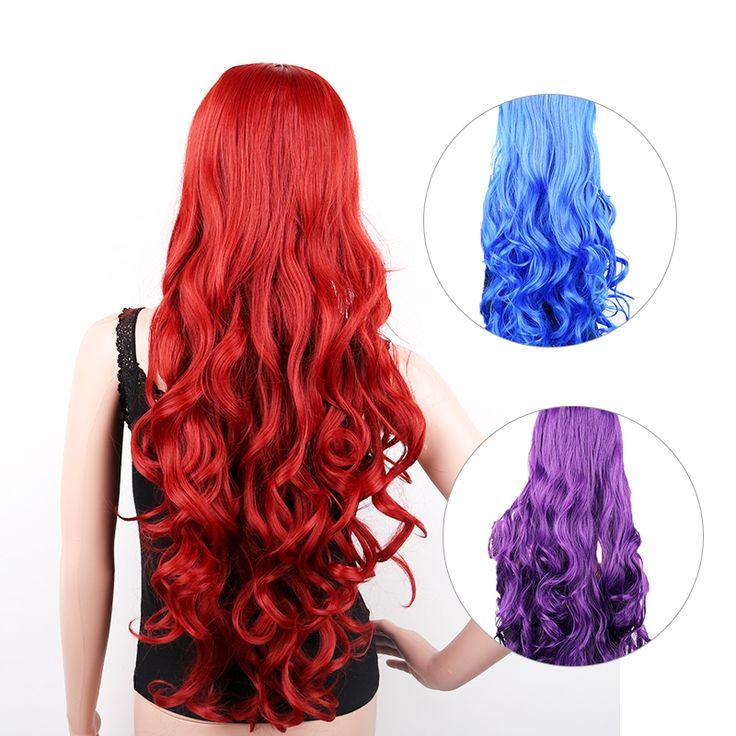 """32 """"ロングコスプレかつらカーリー自然かつら人工毛perucas黒人女性ウィッグpelucas sinteticas 80センチ赤青紫"""