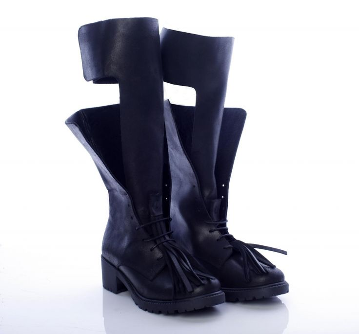 black boots cool design tassels