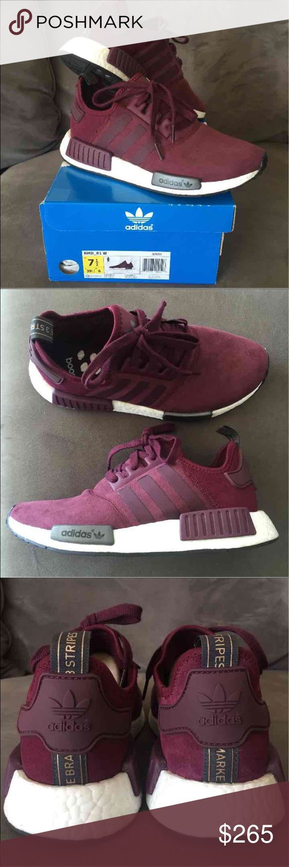 Adidas NMD_R1 boost Received as gift but a little loose on me. Never worn. New without tags. Burgundy and suede color way. sold out. 7.5 women's. Comes with box. adidas Shoes Sneakers