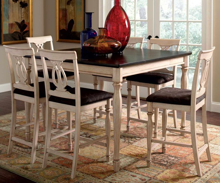 White High Dining Table Part - 40: Coaster Camille Counter Height Dining Set - Antique White U0026 Merlot Camille