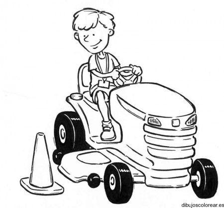 Dibujo de un chico en tractor
